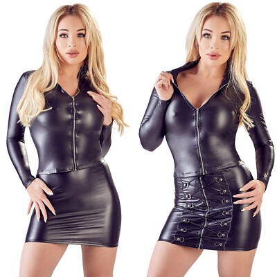 "Damen Mini-Rock S M L XL sexy Wetlook Zip Glanz schwarz Club Party ""Elfriede"""