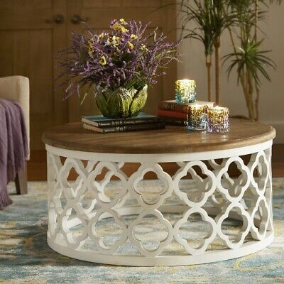 Hand Carved Floral Round Coffee Table