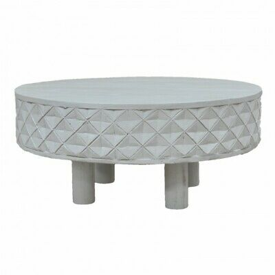 Hand Carved Round Coffee Table with Legs