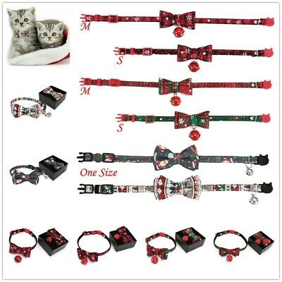 Xmas Breakaway Cat Kitten Collar With Bell Safety Quick Release Buckle Collar