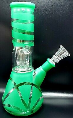 "8"" GREEN BURST Tobacco Hookah Water Pipe Bong THICK GLASS! FREE SCREENS!"