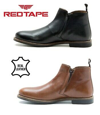 Men's Formal RED TAPE Real Leather Zip Up Ankle Boots Casual Shoes UK Size 6-12