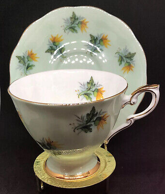 *Vintage* Royal Standard Cup & Saucer - Mint Green, Yellow Flowers, Gold Trim