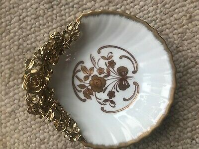 NOS Vtg Matson Roses Ormolu Gold Ceramic Soap Trinket Dish Hollywood Regency