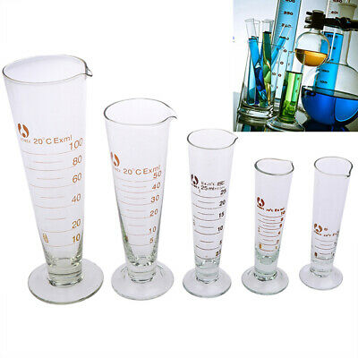 5-100ml Lab Glass Footed Apothecary Measuring Cone Beaker Conical Graduated