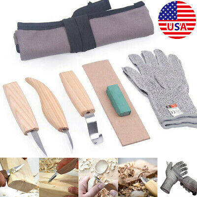 US 5 Pcs Wood Carving Kit DIY Chisel Tool Woodworking Cutter Chip Hand Set