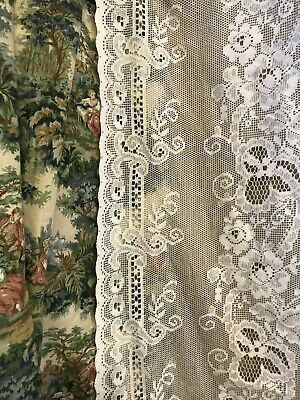 "Beautiful Floral Heritage White cotton lace curtain panel 60""/60"""