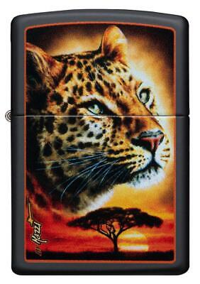Zippo Windproof Black Matte Lighter With Color Image Leopard, 49068, New In Box