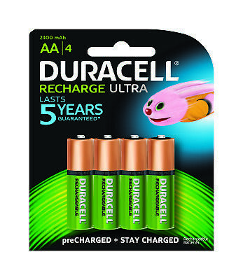 Duracell Ultra Rechargeable AA Battery Batteries 2400mAh - 4 Pack