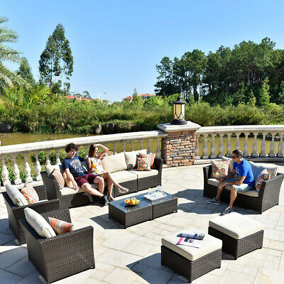 1~6pcs Outdoor Sofa Set Patio Furniture Lounge Setting Dining Chair Table Wicker