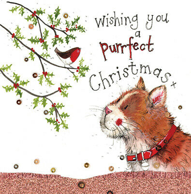 Alex Clark Purrfect Christmas Cat Funny Glitter Sparkle Card Humorous Greetings