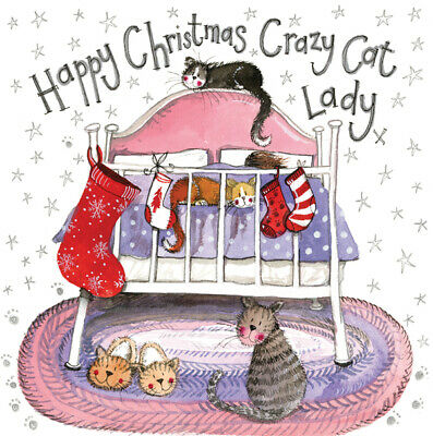Alex Clark Crazy Cat Lady Funny Glitter Sparkle Christmas Greetings Card Xmas