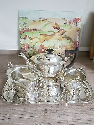 Good Vintage EPNS A Three Piece Tea Service With  Tray & Sugar Nips