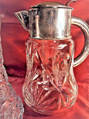 VTG W. Germany Cocktail Cut Glass Claret Jug/ Cooler Inside Silver plated Collar