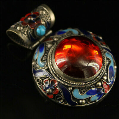 """2.36"""" Chinese Exquisite Tibetan Silver Cloisonne inlay red gem Handmade Pendant"""