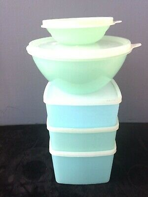 Vintage Tupperware Pastel~Blue & Green~ Storage Containers Lot of 5 with Lids