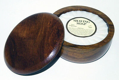Mitchells Wool Fat Shaving Soap 125g & Dark Oak Bowl