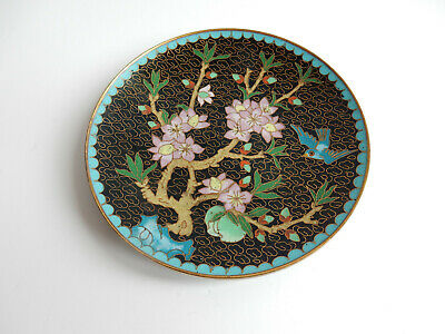 Japanese Cloisonne Bird Plate Dish Plaque Copper