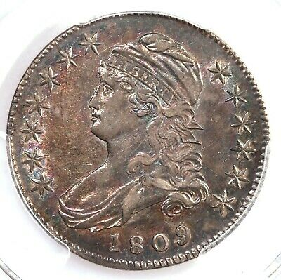1809 Capped Bust 50C PCGS Certified AU50 III Edge Toned Silver Half Dollar Coin