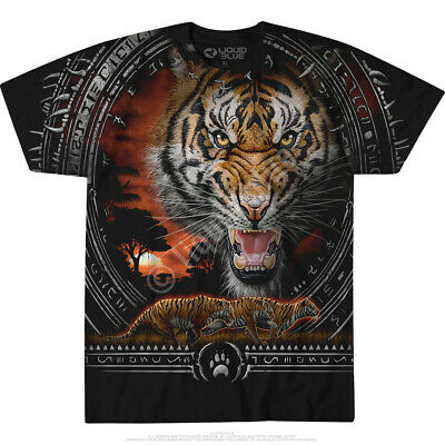 NATIVE-TRIBAL TIGER-2 SIDED TIE DYE T SHIRT S-M-L-XL-XXL-3X,4X,5X,6X Wild Jungle