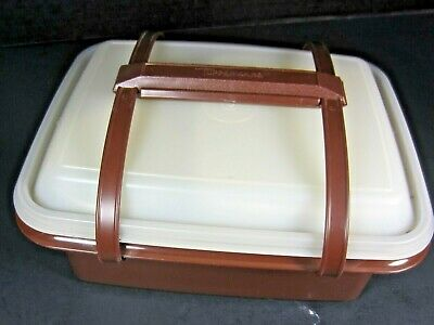 Vtg Tupperware Pak N Carry Lunchbox Brown 11 Piece Set With Containers Lids EXC.