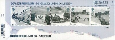 Gb 2019 Autumn Stampex Overprint On; D-Day Mini Sheet Limited Edition Of 7500.