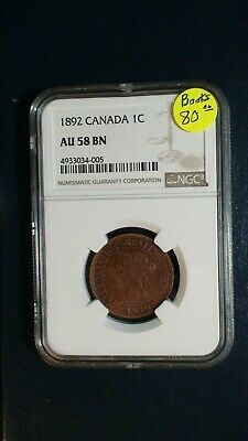 1892 CANADA ONE CENT NGC AU58 BN LARGE 1C Coin PRICED TO SELL FAST!