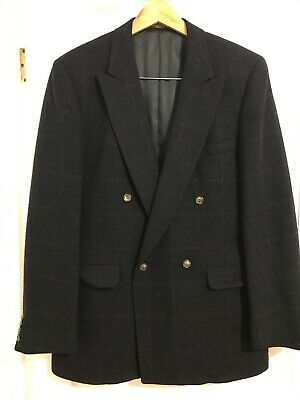 Evan Picone Blazer Mens Size 42 Long Black Plaid Wool Double Breasted Vintage