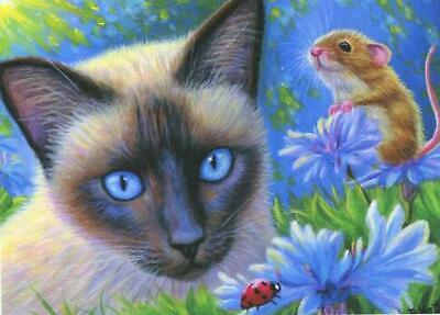 Aceo Siamese Cat Ladybug Mouse Garden Bachelor Buttons Mouse Realism Art Print