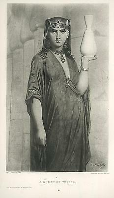 Antique Gorgeous Beautiful Egyptian Egypt Woman Thebes Sphinx Like Face Print