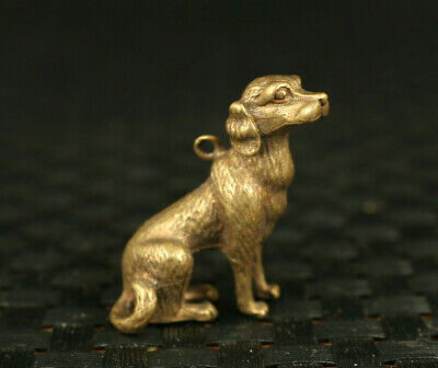 rare old bronze hand casting dog statue pendant netsuke table decoration gift