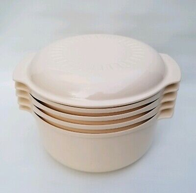 Vintage Tupperware Microwave Stack Cooker Set 5 Piece Steamer 3 Qt 1.75 Qt 1 Qt