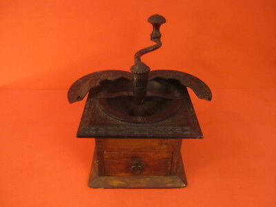 1900 PARKER'S National Wood & Cast Iron Coffee Mill Grinder Moulin A Cafe