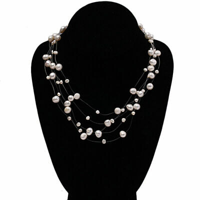 White Cultured Freshwater Pearl Galaxy Pendant Necklace Women Natural 8-10mm
