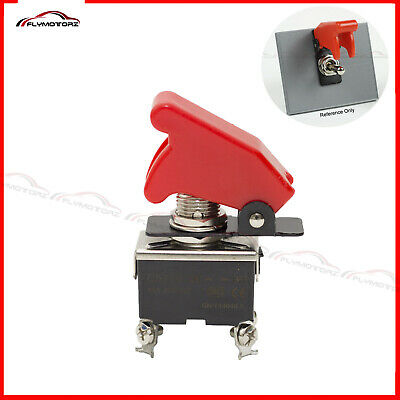 ON//OFF DPST 4P TOGGLE SWITCH SCREW TERM w//COVER TRANS RED 20A  #661804//665018