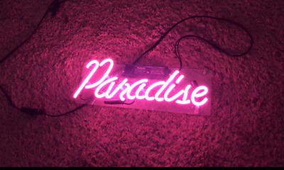 "Paradise Neon Sign Light  Home Room Wall Poster Real Glass Tube Party Gift14/""X6/"""