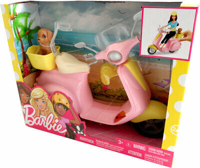 Mattel Barbie FRP56 Motor Scooter with Dog in Basket New and in Original Box