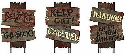 3 Pc Halloween Beware Scary Yard Stake Signs Plastic Wooden Look Realistic Blood