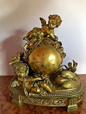 Antique French Bronze Table/Mantle Clock - Worldwide Free Shipping