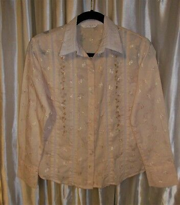 Embroidered pale peach semi-sheer cotton blouse XS Small long sleeve