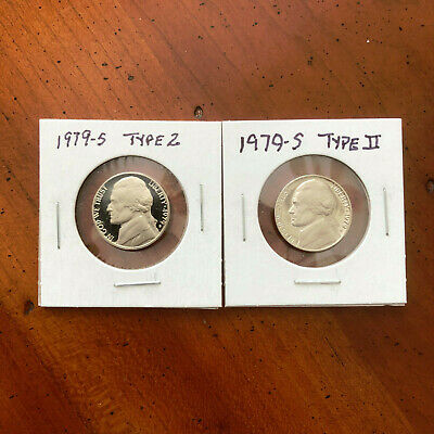 1979 S Jefferson Type II (2) Clear S Nickel Pair Proof CN-Clad Coins