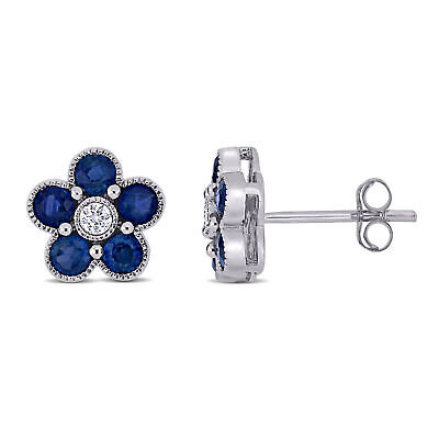 Amour 14K White Gold Sapphire and Diamond Floral Stud Earrings