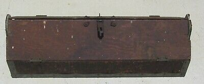 HUGE Antique Wooden Carpenters Tool Box Primitive Carrying Vintage Tote Caddy