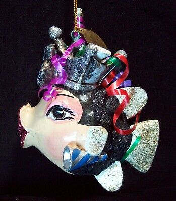 Katherine's Collection Kissing Fish Blown Glass Christmas Ornament