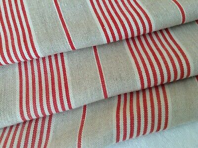 Antique French Linen Red Striped Ticking Fabric Herringbone Weave 19th C. Rustic