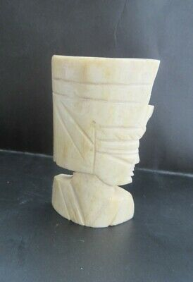"Vintage Egyptian Pharaohs Head Carved Sculpture Egypyt Bovine Bone  2-3/4"" High"