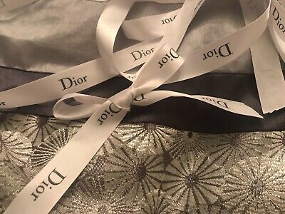 ❤ DIOR PIECES AUTHENTIC DIOR RIBBON for choker decor  BOWS DARK GREY AND WHITE ❤