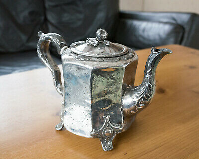 Antique Victorian Silver Plated Teapot. Hand-Engraved. Ornate. Floral Decoration