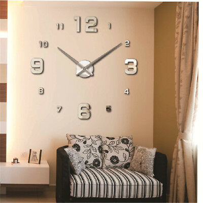 Modern Large 3d Wall Clock Numbers Letters Diy Stickers Clock Office Home Decor