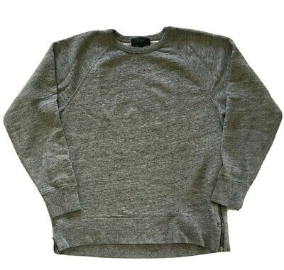 J Crew Sweatshirt Side Slit Size M Gray Long Raglan Sleeves Hi-Lo Rib Cuff/Neck
